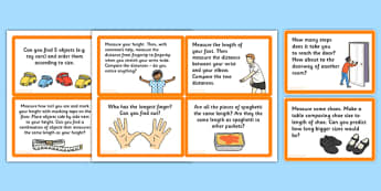 Measuring Length Challenge Cards - measuring, length, challenge