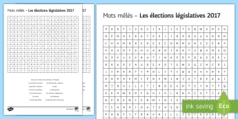 General Election 08/06/2017 Differentiated Word Search French - General Election 08/06/2017, French, législatives, élections, Angleterre, worksheet, wordsearch, d