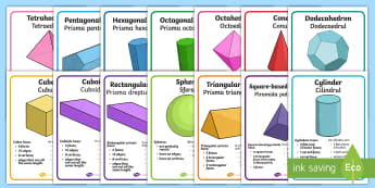 3D Shape Properties Display Posters English/Romanian -  shapes ,geometry, EAL, geometry resources, translation