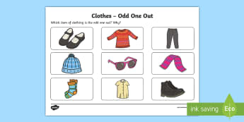 Clothes Odd One Out Activity Sheet - Odd One Out, worksheet, clothes, clothing