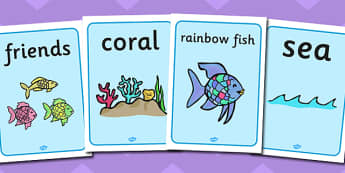 Display Posters to Support Teaching on The Rainbow Fish - The Rainbow Fish, Marcus Pfister, resources, Rainbow Fish, PSHE, PSE, octopus, shimmering scales, starfish, friendship, under the sea, sea, story, story book, story book resources, story seque