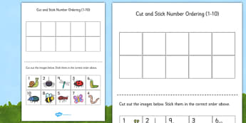 Minibeast Themed Cut and Stick Number Ordering Sheets 1-10 - cut