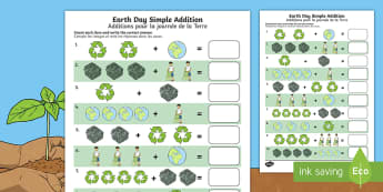 Earth Day Simple Addition Activity Sheet English/French - Earth Day, simple addition, Pre-K adding, Kindergarten adding, worksheet, addition skills , adding,