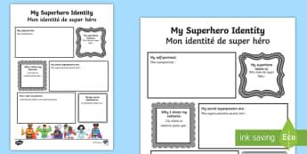 Superhero Activity Sheet English/Frenc - worksheet, EAL translation, transition Writing Frame aid, Nursery reception pre-school ,new class bu