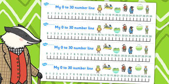 The Wind in the Willows Number Lines 0 30 - numeracy, numbers