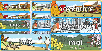 Months of the Year With Seasons Theme Display Posters French - french, months, year, seasons, display, posters