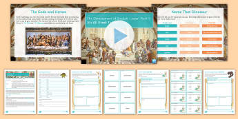 Development of English 5: It's All Greek to Me! Lesson Pack - English origins, latin, greek, ancient greek, mythology, gods and heroes, etymology, word origins, v
