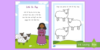 Little Bo Peep Activity Sheet - NZ Literacy Resources, Year 1-3, nursery rhymes, New Zealand, activity, activities, worksheet, readi