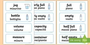 Capacity Word Cards Italian/English - Capacity word cards, word card, cards, capacity, volume, litre, full, empy, half full, measure, jug,