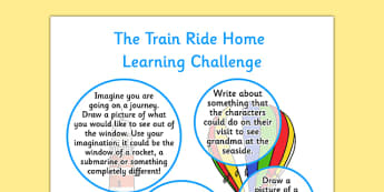 The Train Ride EYFS Home Learning Challenge Sheet Reception FS2 - train ride, eyfs