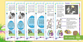 Easter Differentiated Reading Comprehension Activity English/Spanish - EAL, Spanish, KS1, Easter, Year 1, Year 2, Key Stage One, Year One, Year Two, Easter Story, Jesus, C
