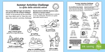 Summer Holiday Challenges Activity Sheet English/Italian - summer, holidays, summer holidays, activities, games, ideas, challenges, homework, homework, home le