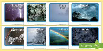 Weather Display Photos - English/Mandarin Chinese - Weather display photos, Display Posters, Weather, A4, display, posters, rain, wind, sun, snow, thund