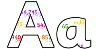 Place Values Small Lowercase Display Lettering - place values, place values display lettering, place values display letters, place values alphabet, maths