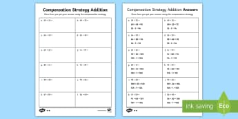 Differentiated Compensation Strategy Addition Questions Activity Sheets - maths, mathematics, number and algebra, number and place value, addition strategies