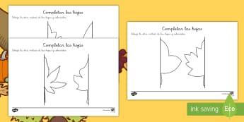 Ficha de simetría: Hojas - Otoño - simetría, simétrico, dibujar, dibujo, colorear, colores, pinter, estaciones, estación, otoño, ho