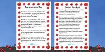 Remembrance Day Information Sheet Polish Translation - polish, remembrance day