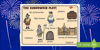 The Gunpowder Plot Word Mat - Story, Bonfire night, word mat, writing aid, mat, Guy Fawkes, bonfire, Houses of Parliament, plot, treason, fireworks, Catholic, Protestant, James I
