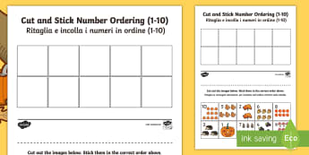 Autumn Themed Cut and Stick Number Ordering Sheets 1-10 English/Italian - Autumn Themed Cut and Stick Number Ordering Sheets 1-10 - autumn, cut, stick, number, ordering,autmn