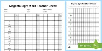 Magenta Reading Sight Words Checklist - Literacy, Reading, Magenta Sight Words, Colour Wheel, tracking, progress, engish, new zealand, nz