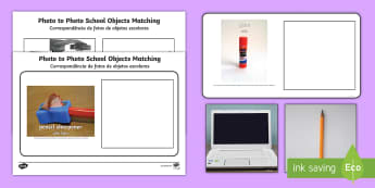 Workstation Pack: Photo to Photo School Objects Matching Activity English/Portuguese - Workstation Packs, TEACCH, ASD, autism, early intervention, symbolic understanding, PECS, eal
