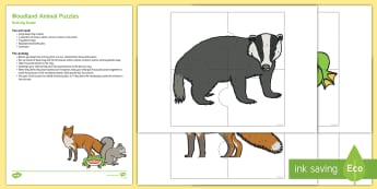 Woodland Animal Puzzle Busy Bag Resource Pack for Parents - Woodland, Woods, Forest, Animals, Squirrel, british wildlife, badger, toad, owl, fox, Sensory tray