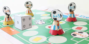 Addition To 10 Football Board Game - add, adding, world cup, game