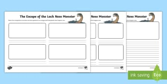 Nessie Appears in School! Storyboard Writing Activity Sheet - CfE Literacy, writing, creating texts, Scotland, Scottish myths and legends, imaginative, story,Scot