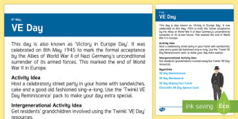 VE Day Adult Guidance - Calendar Planning May 2017, Activity Co-ordinator, Support, Ideas, Elderly Care, Care Homes, VE Day