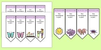 Mother's Day Editable Bookmarks - Spanish, KS2, vocabulary, mother's, day, bookmark, editable, gift, craft