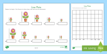 Measuring Flowers Line Plot Activity - measurement, data, line plot, fractions, number lines, graphing