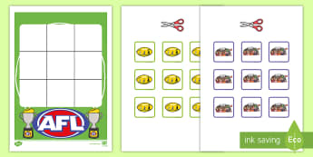 Three in a Row AFL Activity -  EYLF, Foundation, Game, Numeracy, Problem Solving, Counting, aussie rules, football, fans, oval, fo