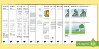 KS3 The Earth Assessment Package - crust , mantle, rocks, sedimentary, igneous, metamorphic, weathering, revision