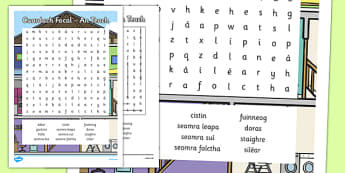 Irish Gaeilge An Teach Word Search - sa braille, home, house, word search, activity, sheets, spellings