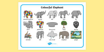 Word Mat to Support Teaching on Elmer - Elmer, Elmer the elephant, resources, Elmer story, patchwork elephant, PSHE, PSE, David McKee, colours, patterns, story, story book, story book resources, story sequencing, story resources, word mat, w
