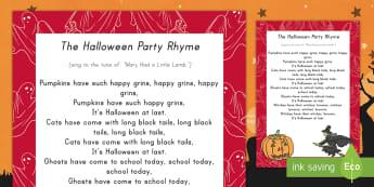Halloween Party Rhyme - Halloween, rhyme, song, Fall, singing
