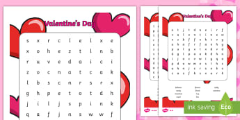 Valentine's Day Differentiated Word Search - Valentine's Day, word search, wordsearch, valentine, love, hearts, holiday, valentines
