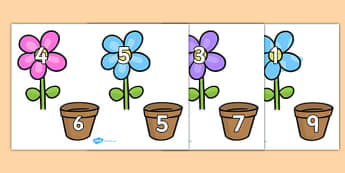 Number Bonds to 10 on Flowers and Pots - number bonds, number bonds to 10, 10 number bonds, number bonds on flowers and pots, flowers, addition, numeracy