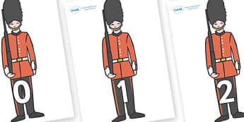 Numbers 0-31 on Royal Guards - 0-31, foundation stage numeracy, Number recognition, Number flashcards, counting, number frieze, Display numbers, number posters