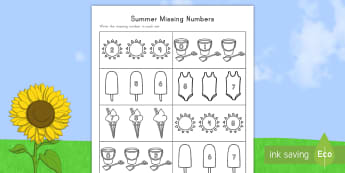 Summer Missing Numbers Activity Sheet - Summer, summer season, first day of summer, summer vacation, summertime, number recognition, find th