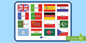 welcome poster in different languages - - mixed languages, welcome, poster, display, welcome poster in different languages,