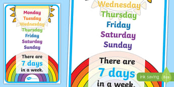 Days Of The Week Poster - days, week, visual prompt, aid, learning, 7 days, time, how many days in a week