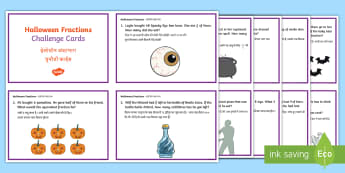 Year 4 Halloween Fractions Challenge Cards Challenge Cards English/Hindi  - Maths, problems, answers, october, festival, autumn, celebration, Halloween, EAL, Hindi