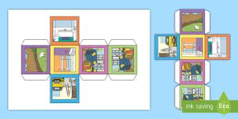 Dado: Las partes de la casa - Inglés - vocabulario, die, dice, dado, habitaciones, rooms, house, casa, home, hogar,Spanish