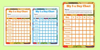 5 A Day Sticker Reward Chart - healthy eating, healthy food, healthy living, eating, food, diet, human body, fruit, veg, vegetables