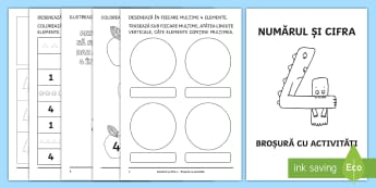 Numărul și cifra 4 Broșură cu activități - număr, cifră, numărul 4, matematică, explorarea mediului, clasa pregătitoare, broșură, activi