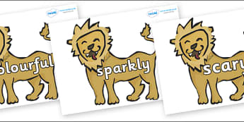 Wow Words on Lions - Wow words, adjectives, VCOP, describing, Wow, display, poster, wow display, tasty, scary, ugly, beautiful, colourful sharp, bouncy