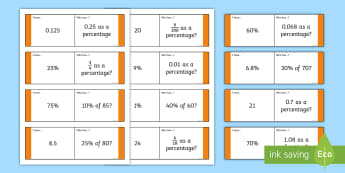 Fractions, Decimals and Percentages I Have, Who Has Game - fractions decimals and percentages, percentages, fraction, fractions, loop card, cards, flashcards, loop, image, decimal, percentage, one whole, half, third, quarter, fifth, p