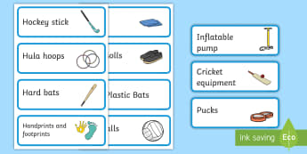 Blue Themed Editable PE Resource Labels - Themed PE label, PE equipment, PE, physical education, PE cupboard, PE, physical development, quoits, cones, bats, balls, Resource Label, Editable Labels, KS1 Labels, Foundation Labels, Foundation Stage Label