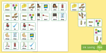 'ch' and 'd' Minimal Pair Dominoes - speech sounds, minimal pairs, affricates, articulation, phonology, stopping